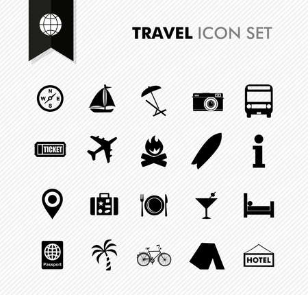 Illustration for Modern travel vacations and holidays icon set. Vector file in layers for easy editing. - Royalty Free Image