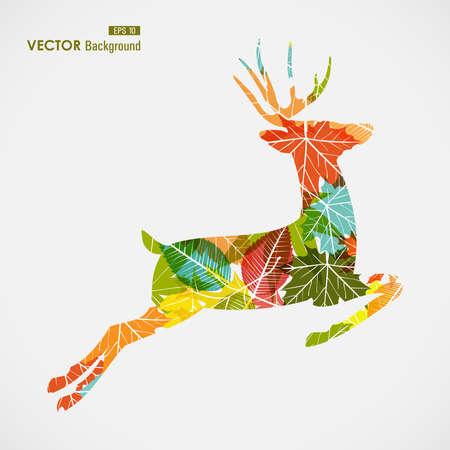 Illustration pour Autumn season transparent leaves reindeer shape background.  - image libre de droit