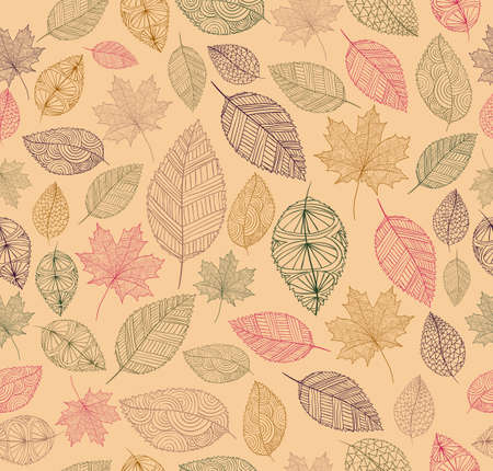 Hand drawn tree leaves seamless pattern background.  Autumn season concept