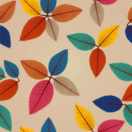 Foto de Colorful vintage autumn tree leaves seamless pattern background - Imagen libre de derechos