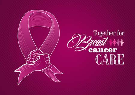 Ilustración de Global collaboration breast cancer awareness concept illustration - Imagen libre de derechos
