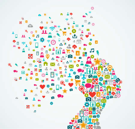 Ilustración de Woman head silhouette made with social media icons splash concept illustration - Imagen libre de derechos