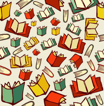 Illustration pour Sketch style hand drawn back to school knowledge concept, open books seamless pattern background.  - image libre de droit