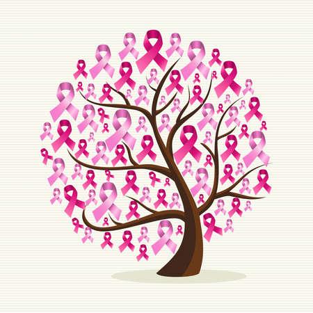 Ilustración de Breast cancer awareness conceptual tree with pink ribbons. - Imagen libre de derechos