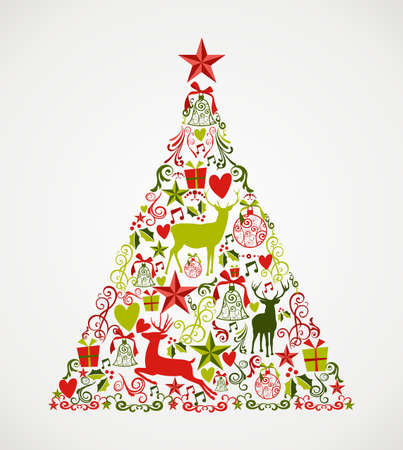 Ilustración de Colorful Merry Christmas tree shape with reindeers and holiday elements composition. EPS10 vector file organized in layers for easy editing. - Imagen libre de derechos
