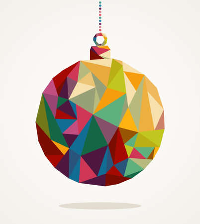 Ilustración de Merry Christmas trendy circle bauble made with colorful triangles composition - Imagen libre de derechos