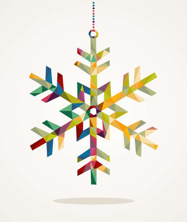 Illustration for Merry Christmas trendy snowflake made with colorful triangles composition - Royalty Free Image