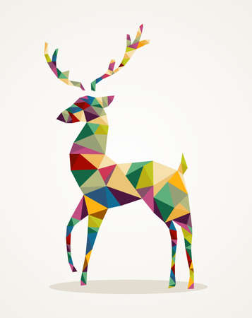 Ilustración de Isolated Merry Christmas colorful abstract reindeer with geometric composition - Imagen libre de derechos