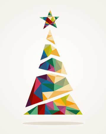 Ilustración de Isolated Merry Christmas colorful abstract tree, decoration star with geometric composition - Imagen libre de derechos