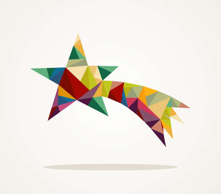 Illustration pour Isolated Merry Christmas colorful abstract shooting star with geometric composition - image libre de droit