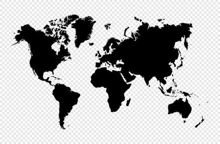 Ilustración de Black silhouette isolated World map. EPS10 vector file organized in layers for easy editing. - Imagen libre de derechos