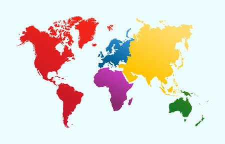Ilustración de World map, colorful continents Atlas illustration. EPS10 vector file organized in layersa for easy editing. - Imagen libre de derechos