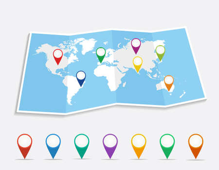 Illustration pour World map with geo position pins travel elements composition. EPS10 vector file organized in layers for easy editing.  - image libre de droit