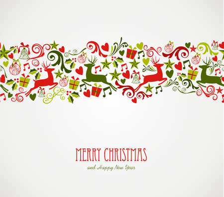 Illustration pour Merry Christmas decorations elements seamless pattern border. Vector file organized in layers for easy editing.  - image libre de droit