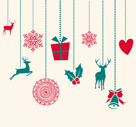 Illustration for Merry Christmas hanging reindeer baubles decoration elements. Vector file organized in layers for easy editing. - Royalty Free Image