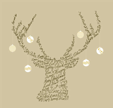 Ilustración de Trendy hipster reindeer shape with holiday text and baubles. Merry Christmas composition.organized in layers for easy editing. - Imagen libre de derechos