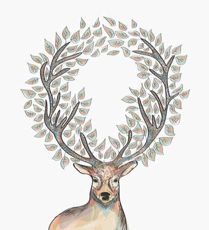 Ilustración de Trendy hipster reindeer with circle leaves Merry Christmas composition.  file with transparency for easy editing. - Imagen libre de derechos