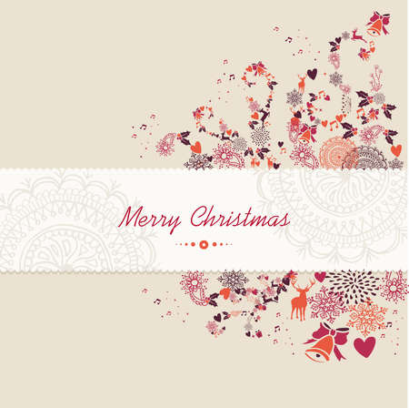 Photo pour Merry Christmas text guard, vintage season elements background. EPS10 vector file organized in layers for easy editing. - image libre de droit