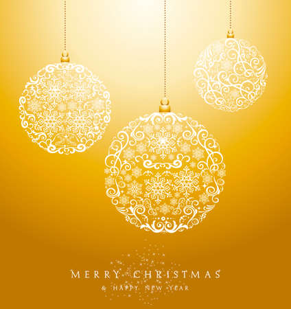 Illustration pour Luxury Merry Christmas circle baubles elements and snowflakes background. EPS10 vector file organized in layers for easy editing. - image libre de droit