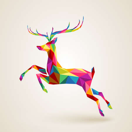 Illustration pour Merry Christmas color abstract reindeer geometric composition. EPS10 vector file organized in layers for easy editing - image libre de droit