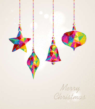 Photo for Christmas holiday hanging baubles multicolors triangles composition. EPS10 vector file organized in layers for easy editing.  - Royalty Free Image