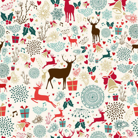 Illustrazione per Vintage Christmas elements seamless pattern wrapping background. EPS10 vector file organized in layers for easy editing. - Immagini Royalty Free