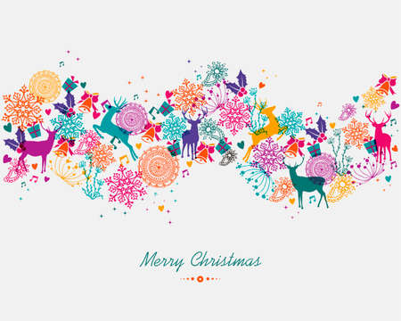Illustration pour Christmas garland colorful holiday elements isolated background. EPS10 vector file organized in layers for easy editing. - image libre de droit