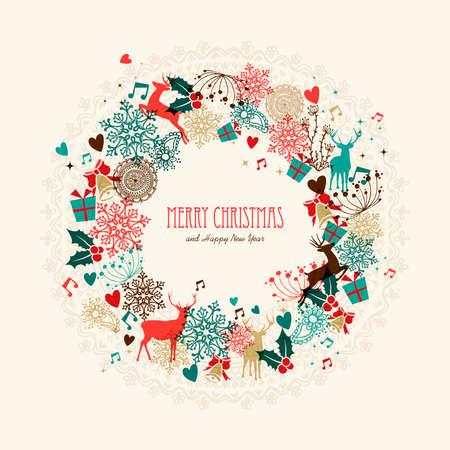 Illustration pour Vintage Christmas garland transparent colors elements postcard. EPS10 vector file with transparency layers. - image libre de droit