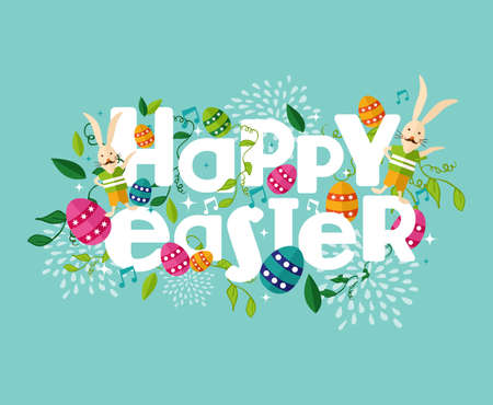 Illustration pour Colorful Happy Easter greeting card with flowers eggs and rabbit elements composition.  - image libre de droit