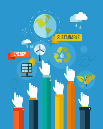 Ilustración de Global green environment and sustainable development hands with icons illustration background  EPS10 vector file organized in layers for easy editing  - Imagen libre de derechos