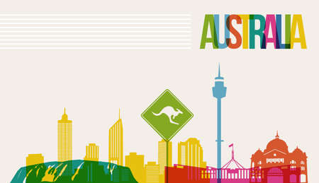 Illustration for Travel Australia famous landmarks skyline multicolored design background. Transparency vector organized in layers for easy create your own website, brochure or marketing campaign. - Royalty Free Image