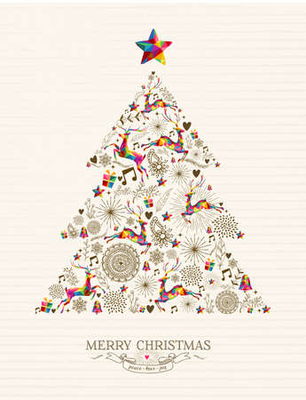 Illustration pour Vintage Christmas tree shape with colorful reindeer and retro label greeting card. - image libre de droit