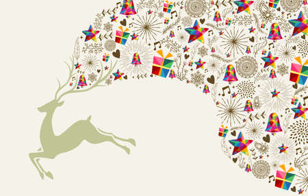 Ilustración de Vintage Christmas greeting card, reindeer and colorful elements composition. - Imagen libre de derechos