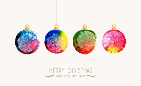 Illustration pour Merry Christmas handmade watercolor baubles greeting card. EPS10 vector file organized in layers for easy editing. - image libre de droit