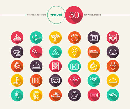 Illustration pour Travel colorful flat icons set for web and mobile app. EPS10 vector file organized in layers for easy editing. - image libre de droit
