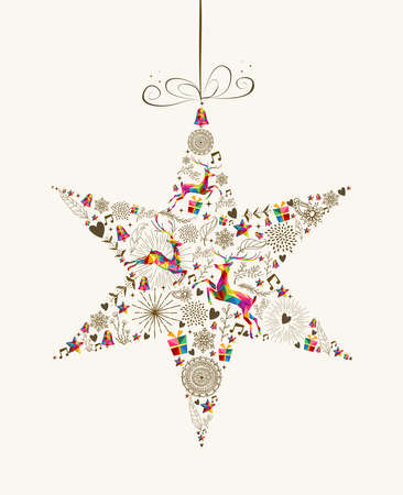 Illustrazione per Vintage Christmas star bauble shape with colorful reindeer and retro elements greeting card. vector file organized in layers for easy editing. - Immagini Royalty Free