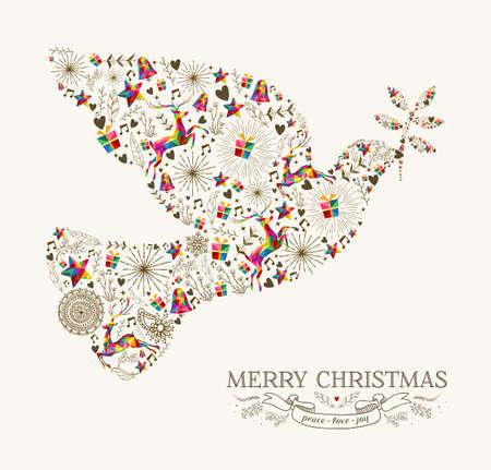 Ilustración de Vintage Christmas peace dove shape with colorful reindeer and retro label greeting card. vector file organized in layers for easy editing. - Imagen libre de derechos