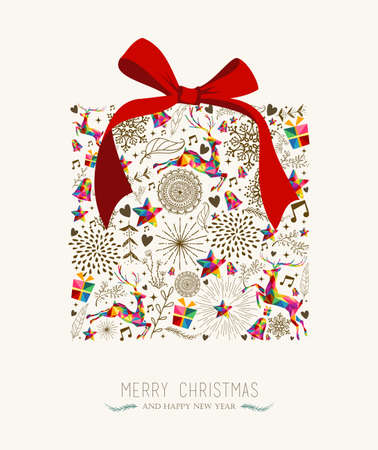 Illustration pour Vintage Christmas gift box shape with colorful reindeer and retro label greeting card. vector file organized in layers for easy editing. - image libre de droit