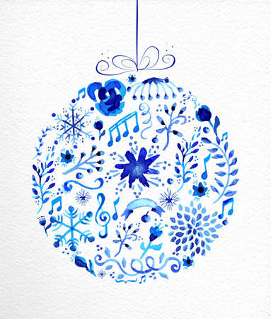Illustration pour Vintage Christmas bauble shape. Hand drawn watercolor in blue with flowers, ribbons, snowflakes and retro elements. Ideal for greeting card, poster and web. - image libre de droit