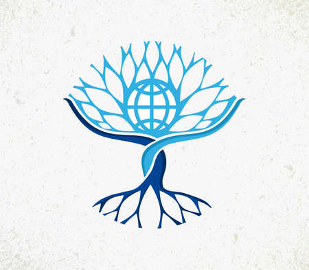 Illustration pour We all are one concept tree. - image libre de droit