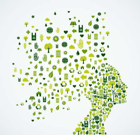 Ilustración de Woman head silhouette with ecology and environment app icons splash concept illustration. EPS10 vector file. - Imagen libre de derechos