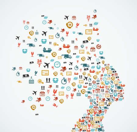 Ilustración de Woman head silhouette with logistics and delivery app icons splash concept illustration. EPS10 vector file. - Imagen libre de derechos