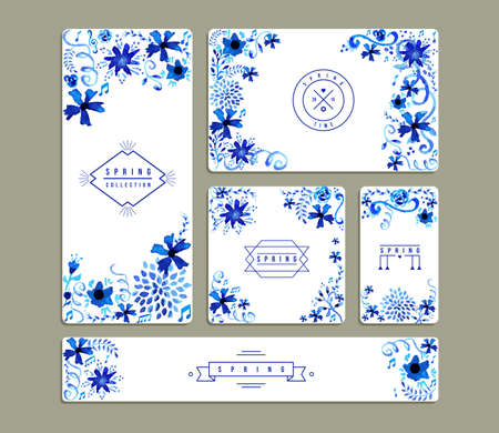 Illustration for Set of romantic invitation cards with hand drawn watercolor flowers a leaves illustration. Ideal for Spring party, wedding, birthday and valentines day. EPS10 vector file. - Royalty Free Image