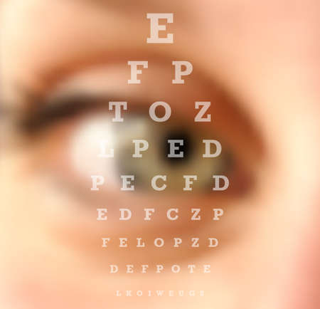 Illustration pour Eye test vision chart close up blurred effect. Ophthalmology concept background. vector file with transparency layers. - image libre de droit