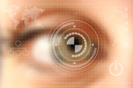 Foto für Infographics technology concept. Human eye blurred effect with virtual screen. vector file with transparency layers. - Lizenzfreies Bild