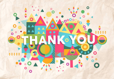 Ilustración de Thank you colorful typography Poster. Inspiring motivation quote background ideal for greeting card design. EPS10 vector file. - Imagen libre de derechos