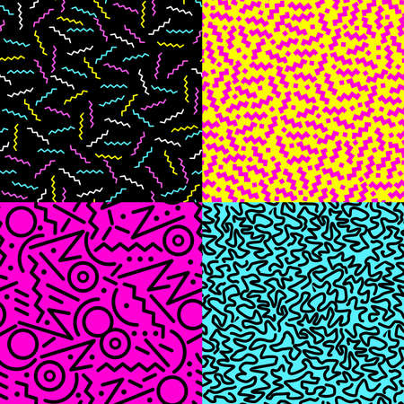 Photo pour Set of retro vintage 80s fashion style seamless pattern illustration background.  - image libre de droit