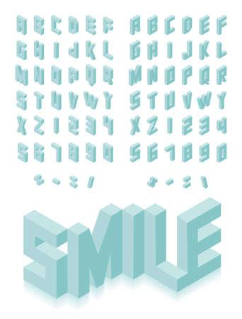 Illustration pour Isometric 3d type font set isolated background illustration - image libre de droit