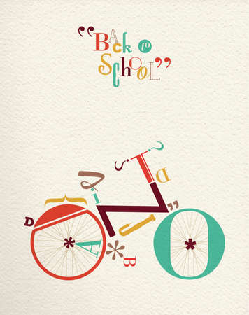 Illustration pour Back to school retro hipster bicycle illustration with type font bike shape and vintage paper background. Ideal for print poster and greeting card design. EPS10 vector - image libre de droit