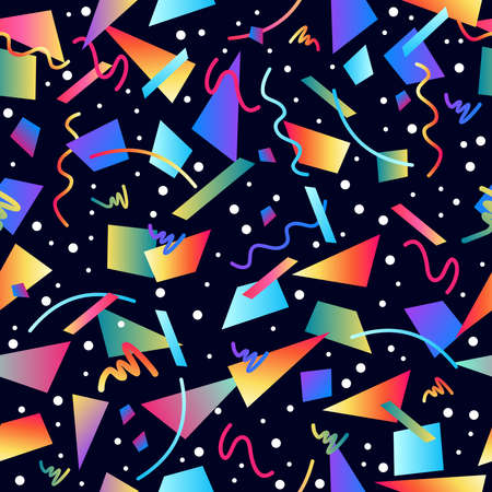 Ilustración de Retro vintage 80s memphis fashion style seamless pattern illustration background. Ideal for fabric design, paper print and website backdrop. EPS10 vector file. - Imagen libre de derechos